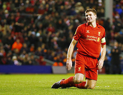 Liverpool's Steven Gerrard reacts after a missed opportunity