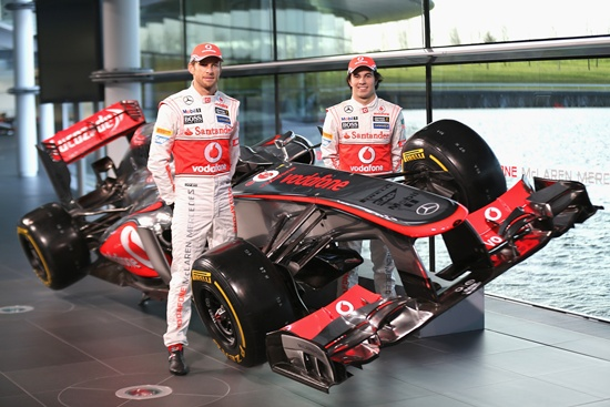 McLaren Mercedes Formula 1 drivers Jenson Button and Sergio Perez