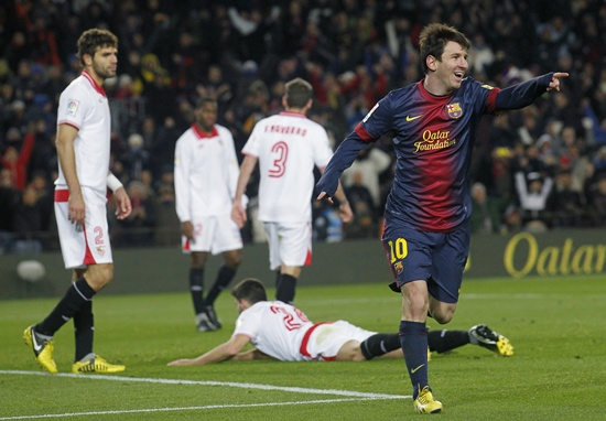 Barcelona's Lionel Messi celebrates a goal against Sevilla