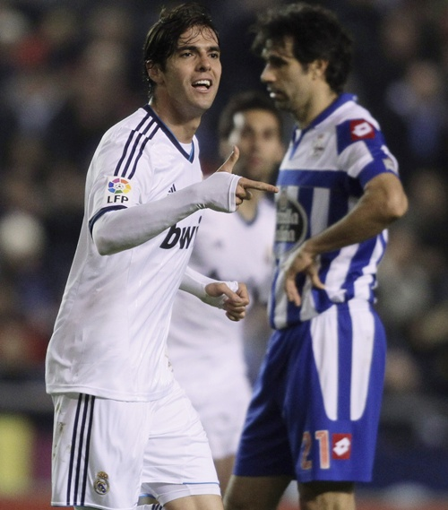 Real Madrid's Kaka celebrates his goal against Deportivo La Coruna