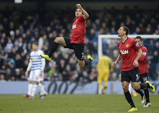 Manchester United's Rafael da Silva (centre) celebrates