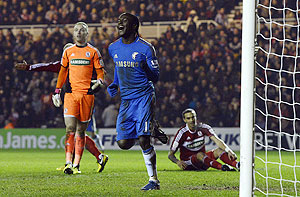 Chelsea's Victor Moses (celebrates) scoring against Middlesbrough during their FA Cup match on Wednesday