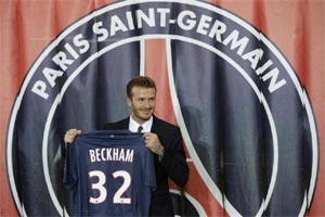 David Beckham shows of his new jersey