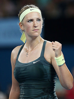Victoria Azarenka of Belarus celebrates after beating Sabine Lisicki of Germany