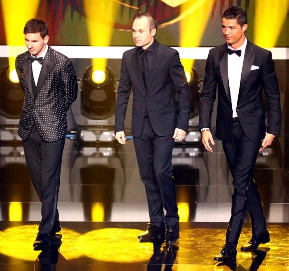 Lionel Messi, Andres Iniesta and Cristiano Ronaldo