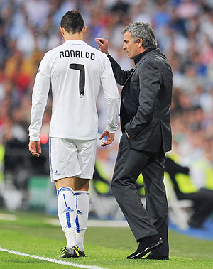 Cristiano Ronaldo and Jose ourinho