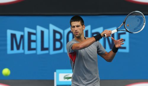 Novak Djokovic of Serbia plays a forehand during a practice session ahead of the 2013 Australian Open at Melbourne Park