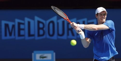 Andy Murray of Britain hits a return during a practice session at the Australian Open tennis tournament