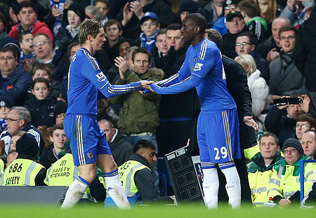Fernando Torres and Demba Ba of Chelsea