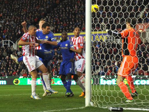 Jonathan Walters of Stoke City scores his second own goal to make the score 0-2 during the Barclays Premier League match between Stoke City and Chelsea