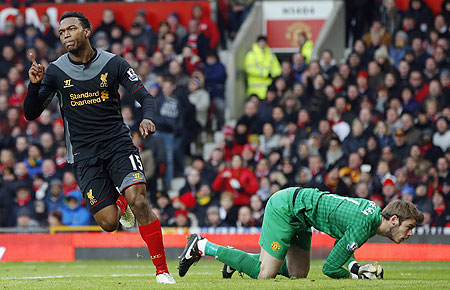Liverpool's Daniel Sturridge celebrates after scoring past Manchester United's David De Gea on Sunday