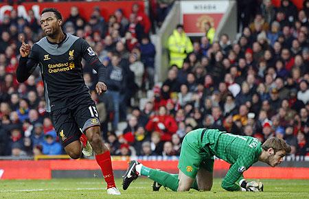 Liverpool's Daniel Sturridge celebrates after scoring past Manchester United's David De Gea on Sunday