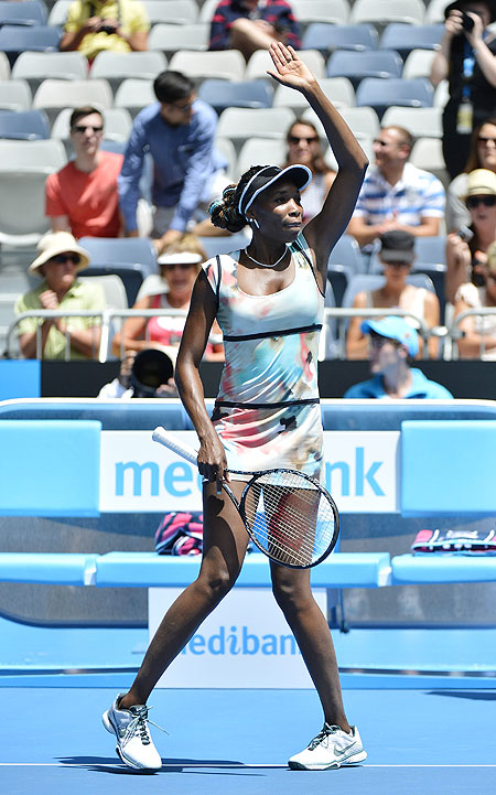 Venus Williams  celebrates defeating Galina Voskoboeva of Kazakhstan