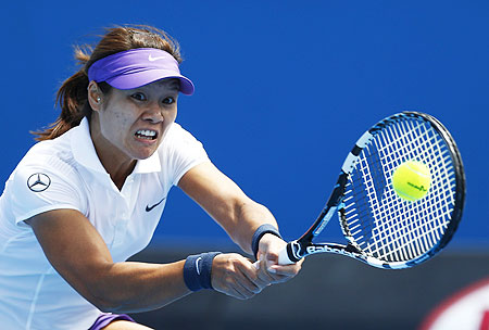 Li Na of China hits a return to Sesil Karatantcheva of Kazakhstan