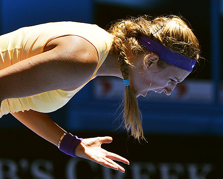 Victoria Azarenka of Belarus reacts during her women's singles match against Monica Niculescu of Romania