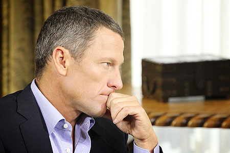 Lance Armstrong during an interview with Oprah Winfrey