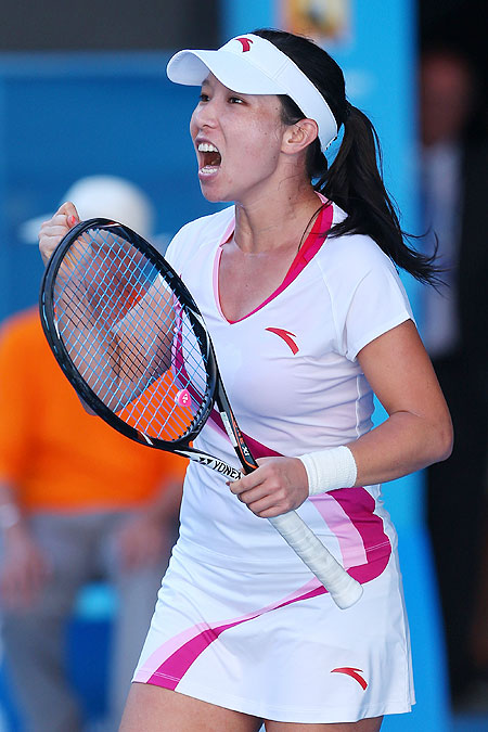 Jie Zheng of China celebrates