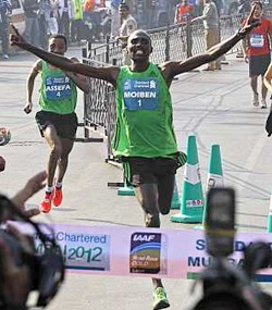 Laban Moiben finishes first in the 2012 edition of the Mumbai Marathon