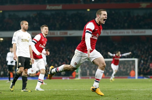 Arsenal's Jack Wilshere celebrates