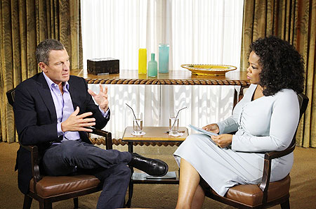 In this handout photo provided by the Oprah Winfrey Network, Oprah   Winfrey (right) speaks with Lance Armst