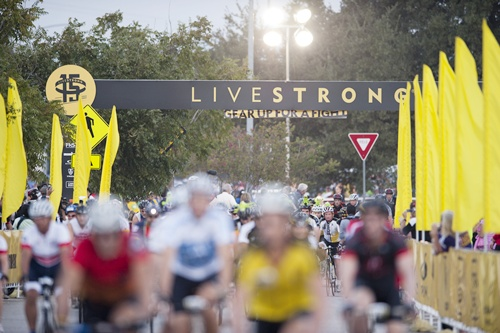 Riders participate in the LIVESTRONG Challenge Ride