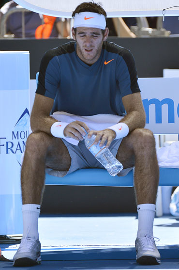 Juan Martin del Potro of Argentina during his singles match against Jeremy Chardy of France at the Australian Open