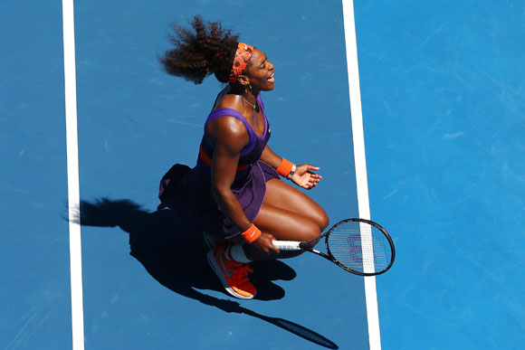 Serena Williams of the United States reacts in her third round match against Ayumi Morita of Japan