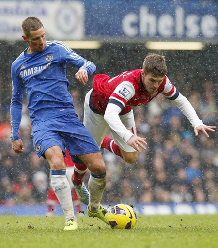 Chelsea's Fernando Torres challenges Arsenal's Aaron Ramsey