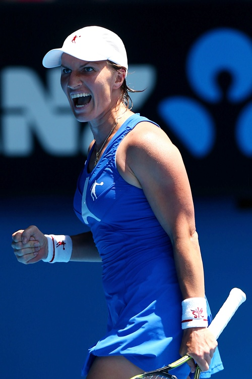 Svetlana Kuznetsova of Russia celebrates