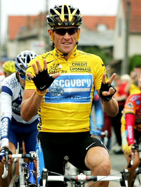 Lance Armstrong celebrates after winning his seventh consecutive Tour de France on July 24, 2005 in Paris.