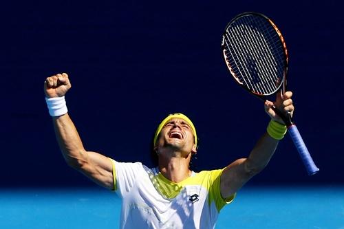 David Ferrer of Spain celebrate