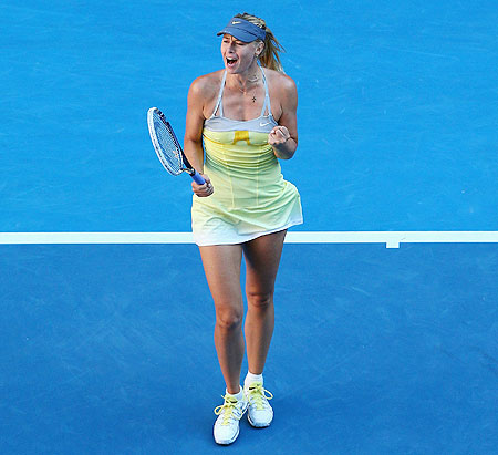 Maria Sharapova of Russia celebrates winning her quarter-final victory against Ekaterina Makarova of Russia on Tuesday