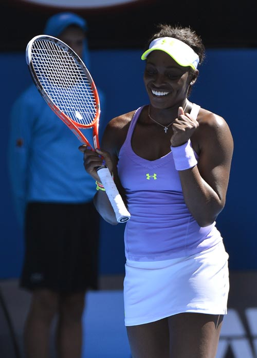 Sloane Stephens of the U.S. celebrates defeating compatriot Serena Williams in their women's singles quarter-final match