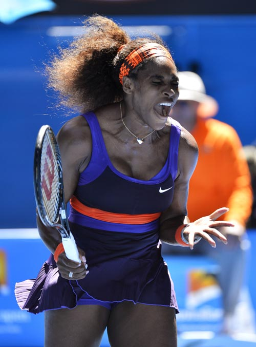 Serena Williams of the U.S. reacts during her women's singles quarter-final match against compatriot Sloane Stephens