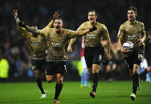 Nathan Doyle of Bradford City and his teammates celebrate