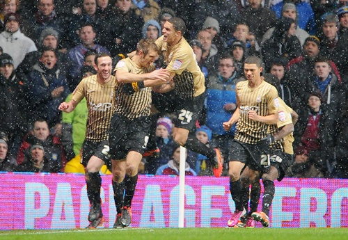 James Hanson of Bradford City celebrates
