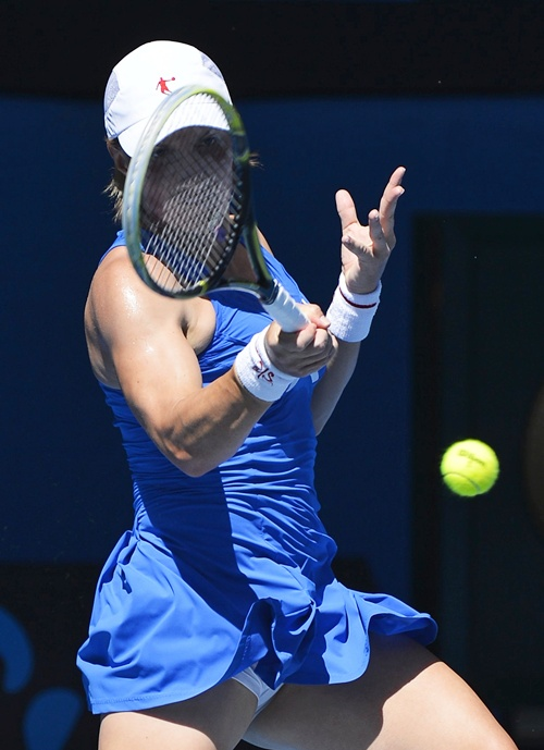 Svetlana Kuznetsova of Russia hits a return