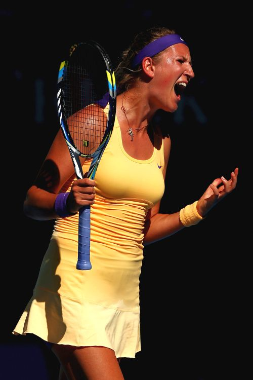 Victoria Azarenka of Belarus reacts after losing a point in her Semifinal match against Sloane Stephens of the United States