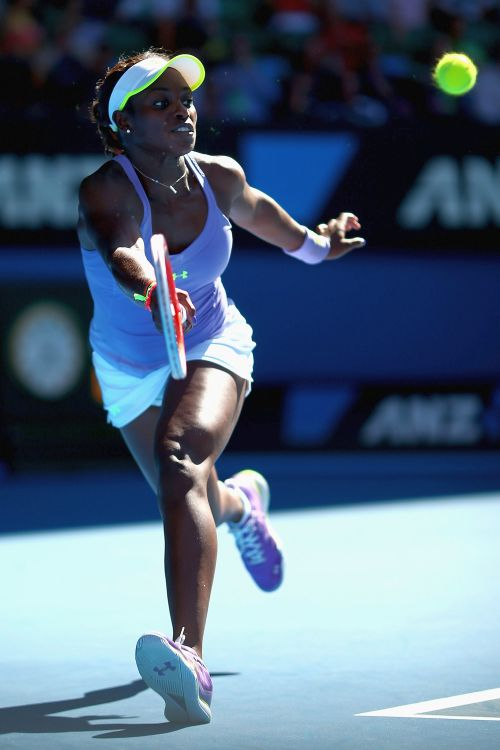 Sloane Stephens of the United States of America plays a forehand in her semifinal match against Victoria Azarenka of Belarus