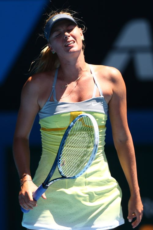 Maria Sharapova of Russia reacts in her Semifinal match against Na Li of China
