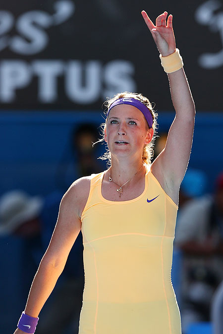 Victoria Azarenka of Belarus celebrates winning her semi-final match against Sloane Stephens on Thursday