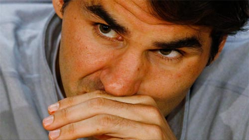 Roger Federer of Switzerland attends a news conference