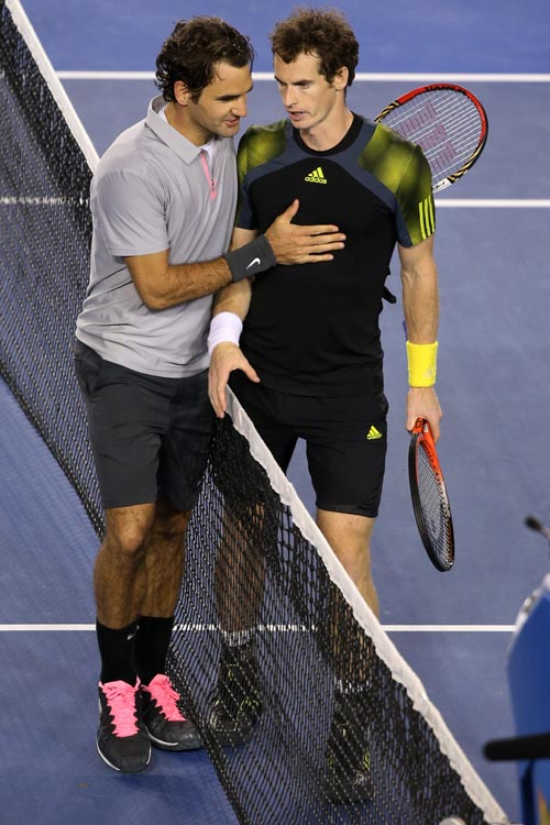 Andy Murray of Great Britain shakes hands with Roger Federer of Switzerland