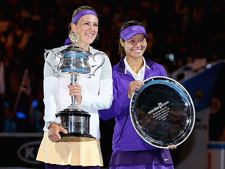 Victoria Azarenka (left) of Belarus and Li Na of China with their respective trophies after their women's final at the Australian Open on Saturday