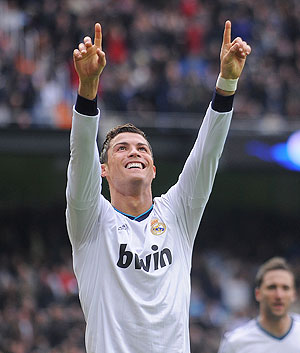 Cristiano Ronaldo of Real Madrid CF celebrates after scoring Real's second goal against Getafe on Sunday