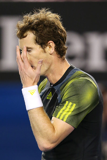 Andy Murray of Great Britain reacts to a point during the final