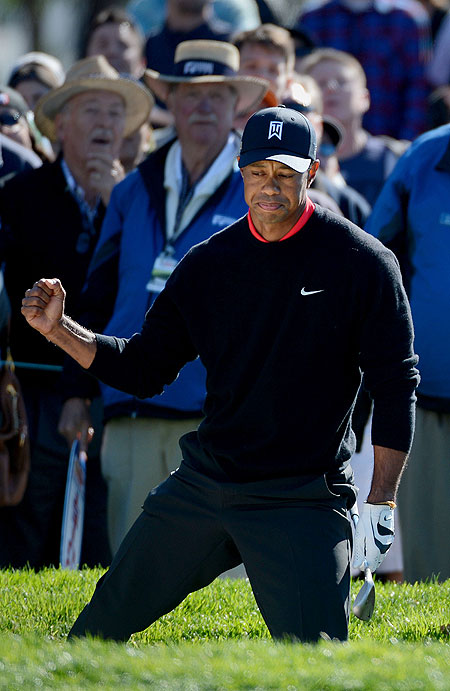 Tiger Woods in action during the Farmers Insurance Open at Torrey Pines