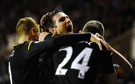 Chelsea's Frank Lampard celebrates after scoring against Reading on Wednesday