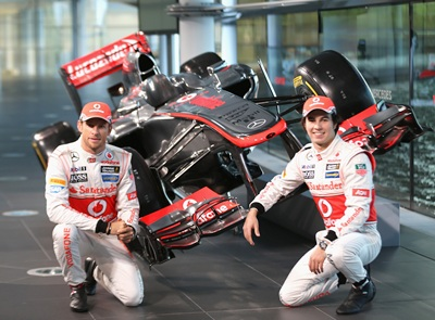 Jenson Button and Sergio Perez unveil the Mercedes McLaren MP4-28