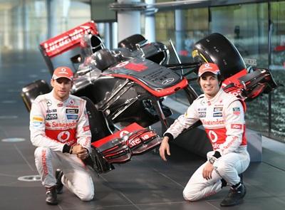 Jenson Button and Sergio Perez unveil the Mercedes McLaren MP4-28